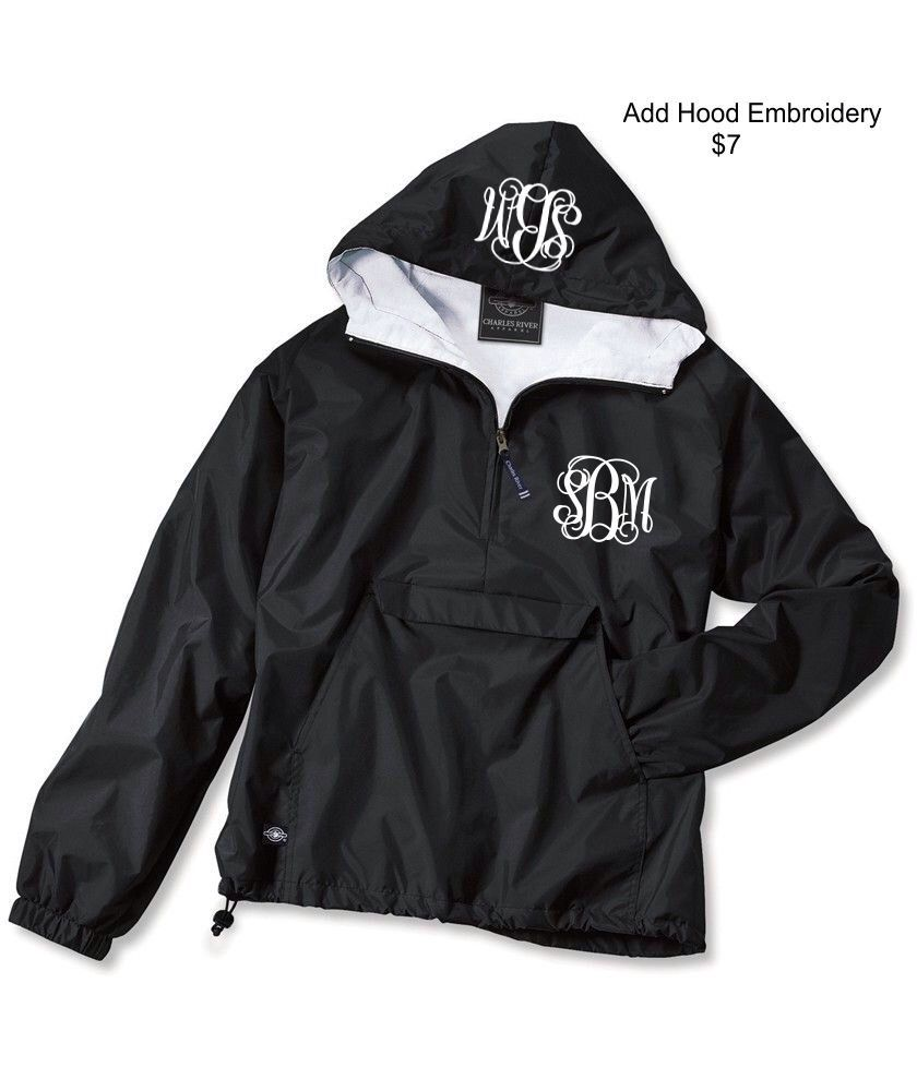 Black Monogrammed Personalized Half Zip Rain Jacket Pullover by ...