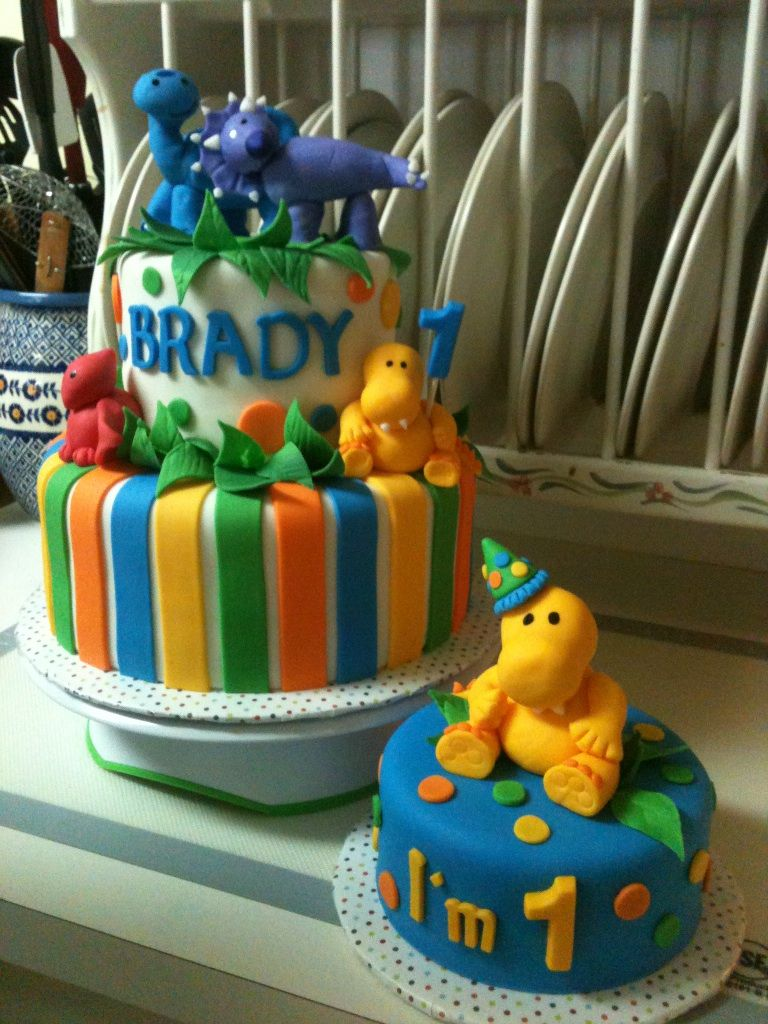 Dinosaur 1st Birthday Cake With Smash Cake Cakes I Made