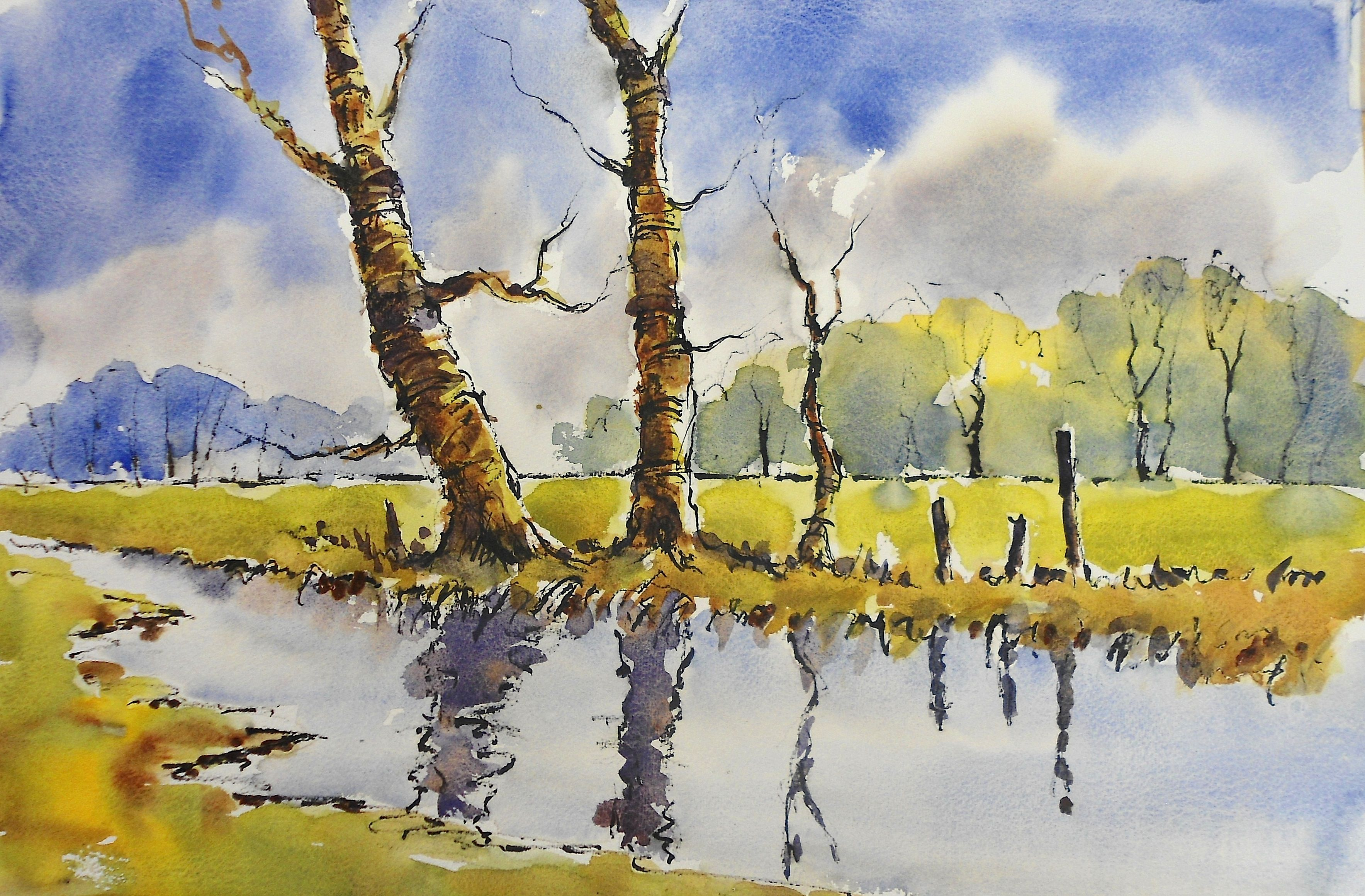 Woodland River Line And Wash Watercolour Video Lesson By Joanne