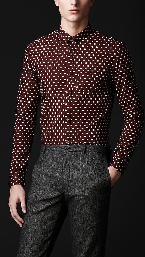 Burberry Iconic British Luxury Brand Est 1856 Polka Dot Shirt