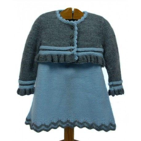 Conjunto niña vestido y chaqueta hecho a mano