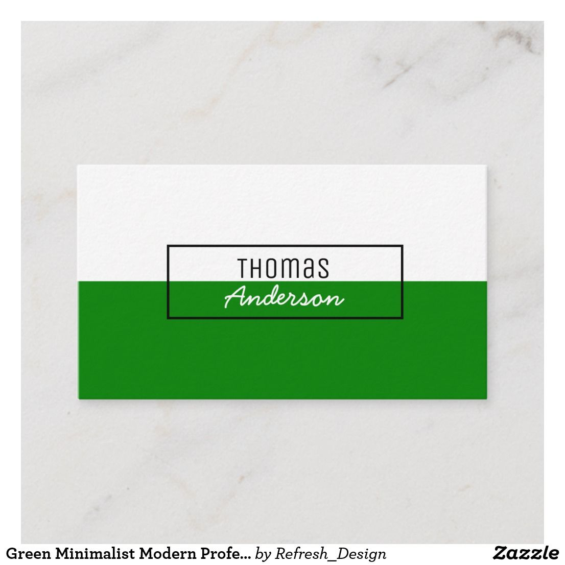 Green Minimalist Modern Professional Simple Clear Business Card