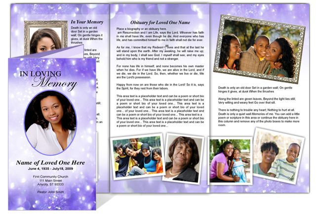 Collage Funeral Memorial Tri Fold Brochures : AO Glitter Tri Fold ...