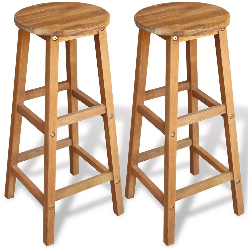 Rustic Bar Stools 2 Pcs Solid Acacia Wood Breakfast Kitchen Chairs Banco De Bar Bar Cadeira De Bar