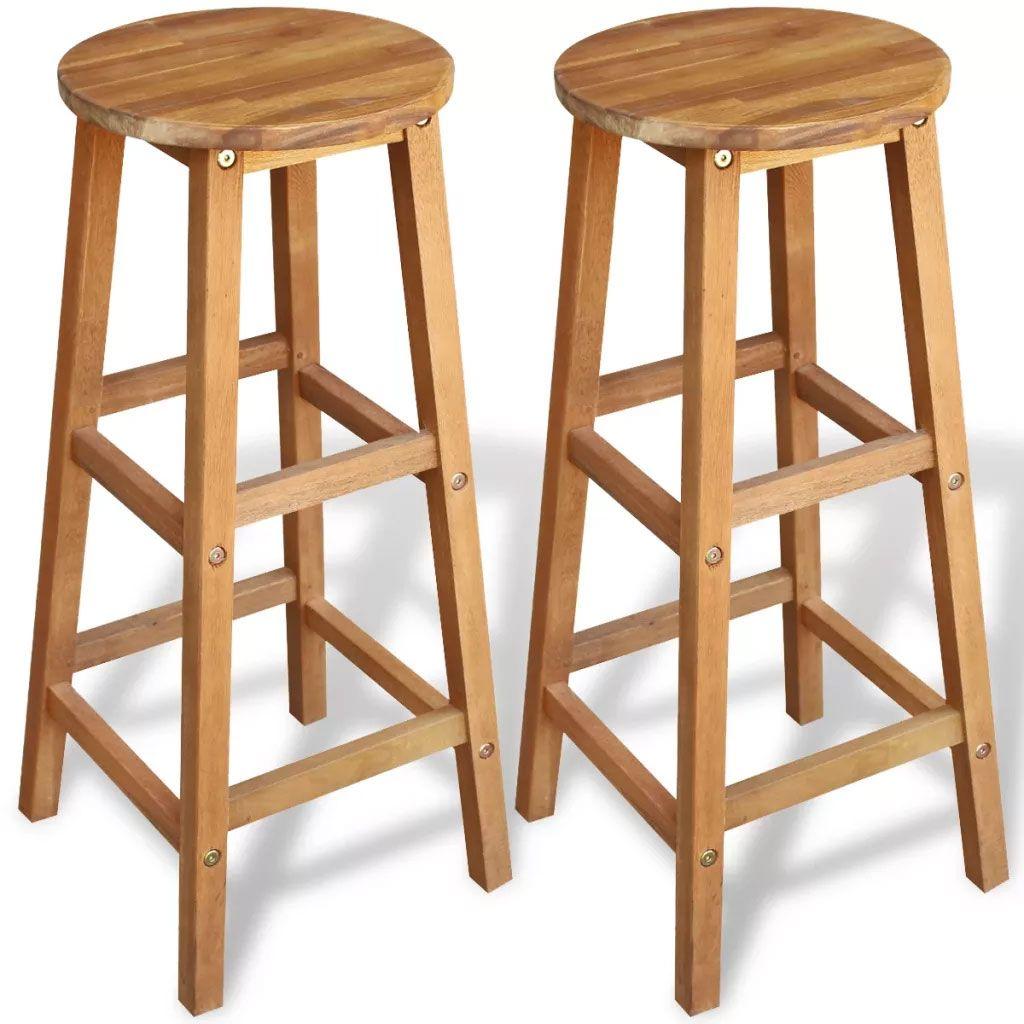 Wood Kitchen Chairs Walmart Stools Rustic Bar 2 Pcs Solid Acacia Breakfast