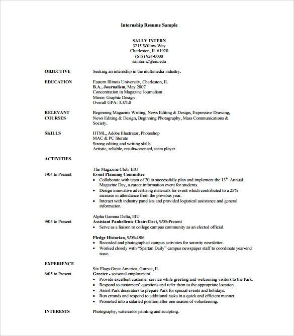 Free 7 Sample Internship Resume Templates In Pdf Word Internship Resume Resume Objective Examples Resume Objective Sample