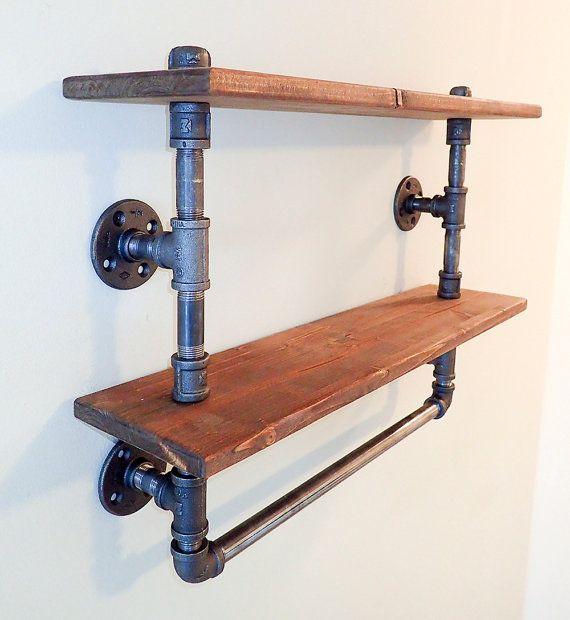 Tag re de salle de bain tuyau industriel towel rack shelves n storages salle de bain - Tuyau salle de bain ...