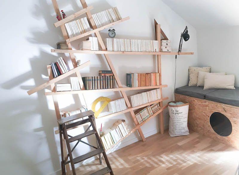 Armelle propose un diy bibliothèque mikado pour une déco scandinave au top parce qu