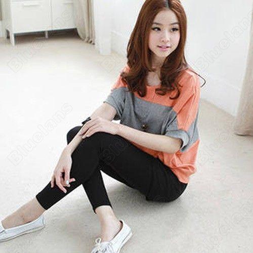 Discount China china wholesale New Women's Ladies Bat Short Sleeve Loose Black Orange Tshirt Blouse Tank Top Shirt [30583] - US$7.99 : Bluelans