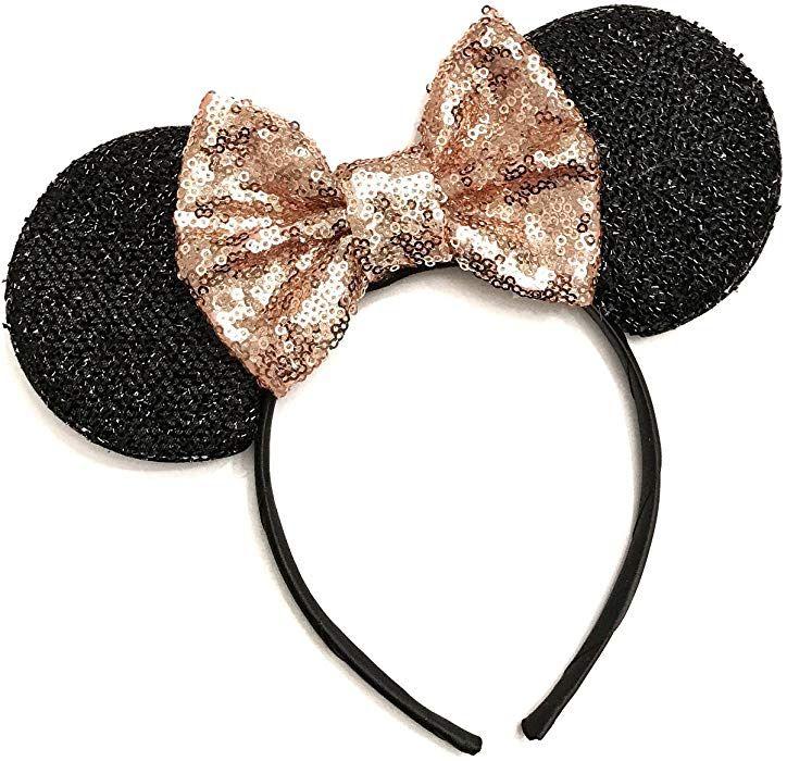 Amazon Com Rose Gold Mouse Ears Bella Minnie Ears Headband
