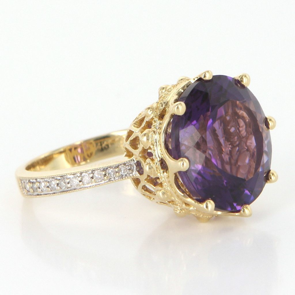 Vintage 14 Karat Yellow Gold Amethyst Diamond Crown Cocktail Ring Estate Fine Jewelry 7.25