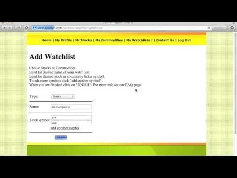 How To Add A Watch List And Ticker Symbols To Our Free Stock