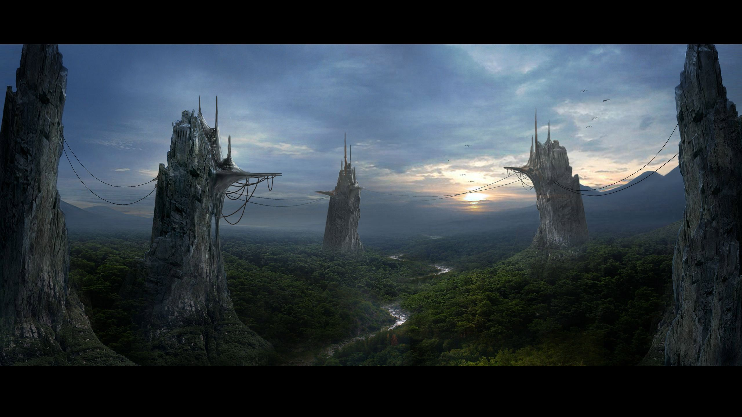 FANTASY JUNGLE CITY | Jungle River Mountain Peak City Sky Fantasy 2560x1440 hdw.eweb4.com