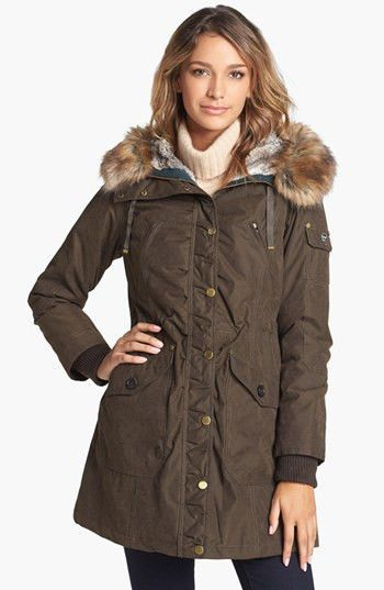 a93a1c01217 $125 1 Madison Expedition Womens Olive Faux Fur Hooded Parka Jacket Coat M  Retail 350