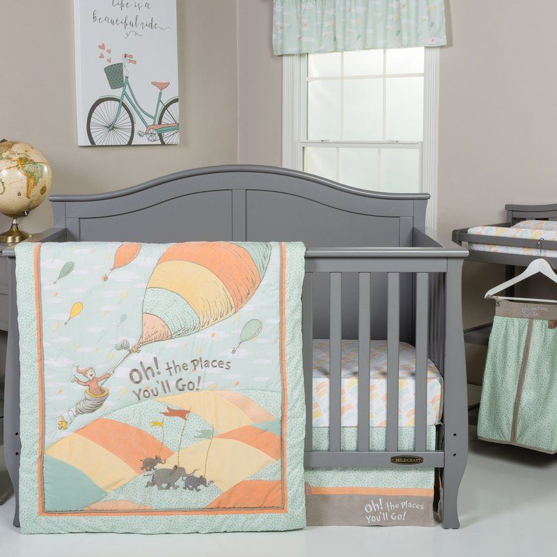 Unisex 5 Piece Crib Bedding Set Orange//Yellow//Green and White Trend Lab Dr Seuss Oh The Places Youll Go