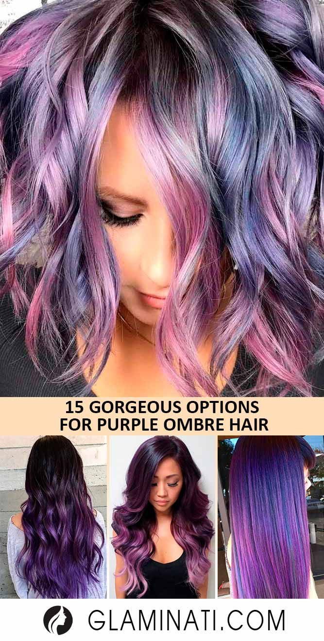18 Cool Ideas Of Purple Ombre Hair   Metallic hair dye, Metallic ...