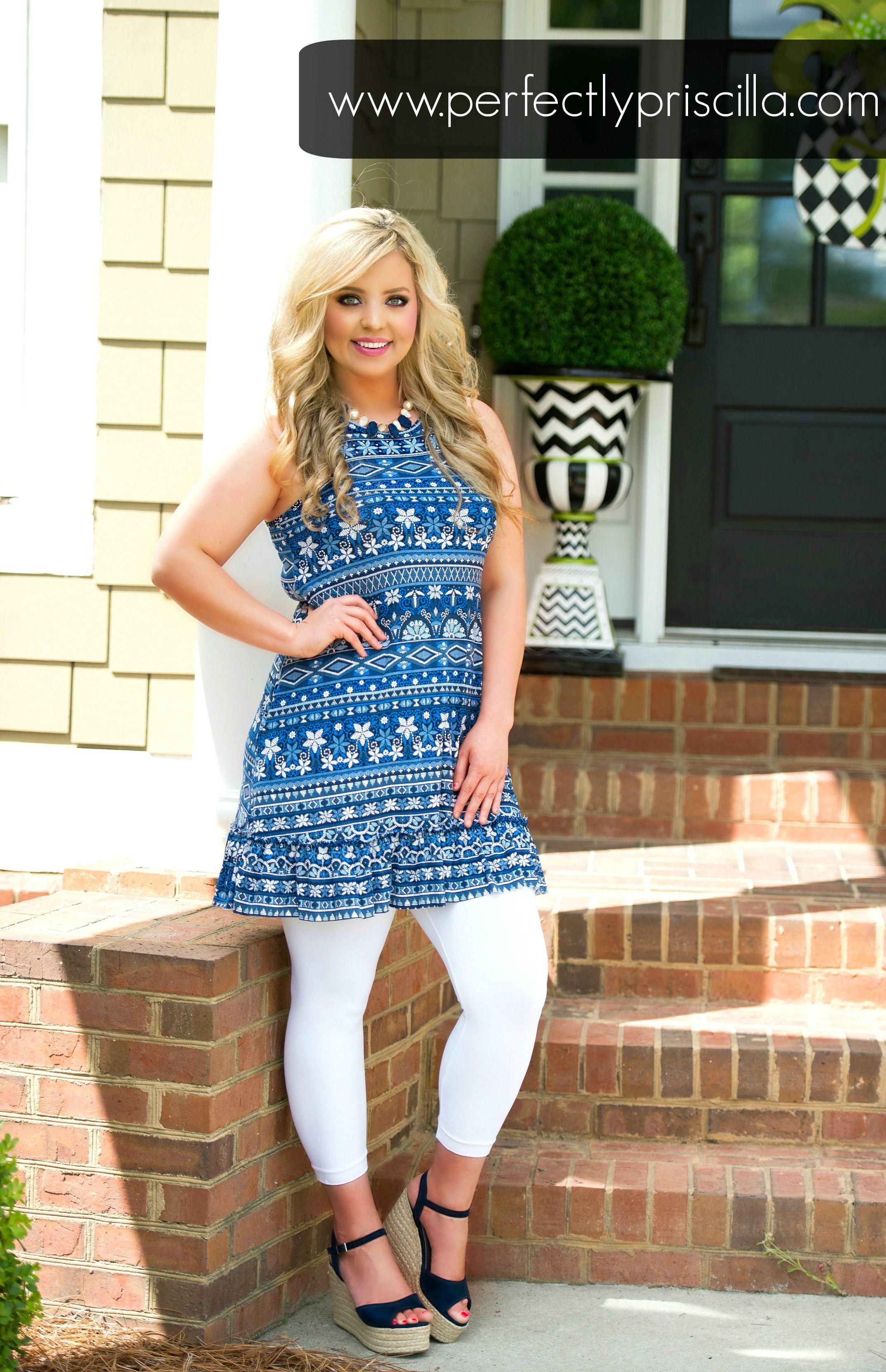 5e1a4dcaac75 blue #white #legging #tunic #tops #summer #outfits #outfitideas ...