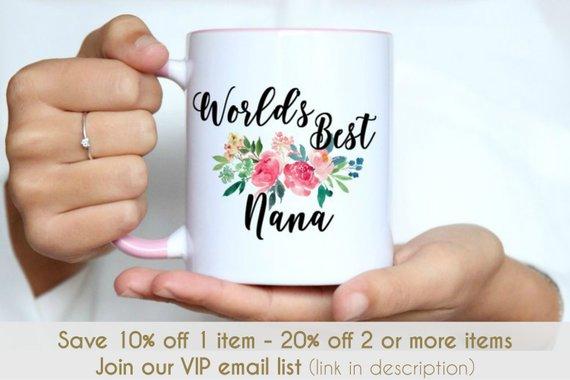 Nanna  Mothers Day Grandma Grandmother Birthday Christmas Heart Flowers Gift Mug
