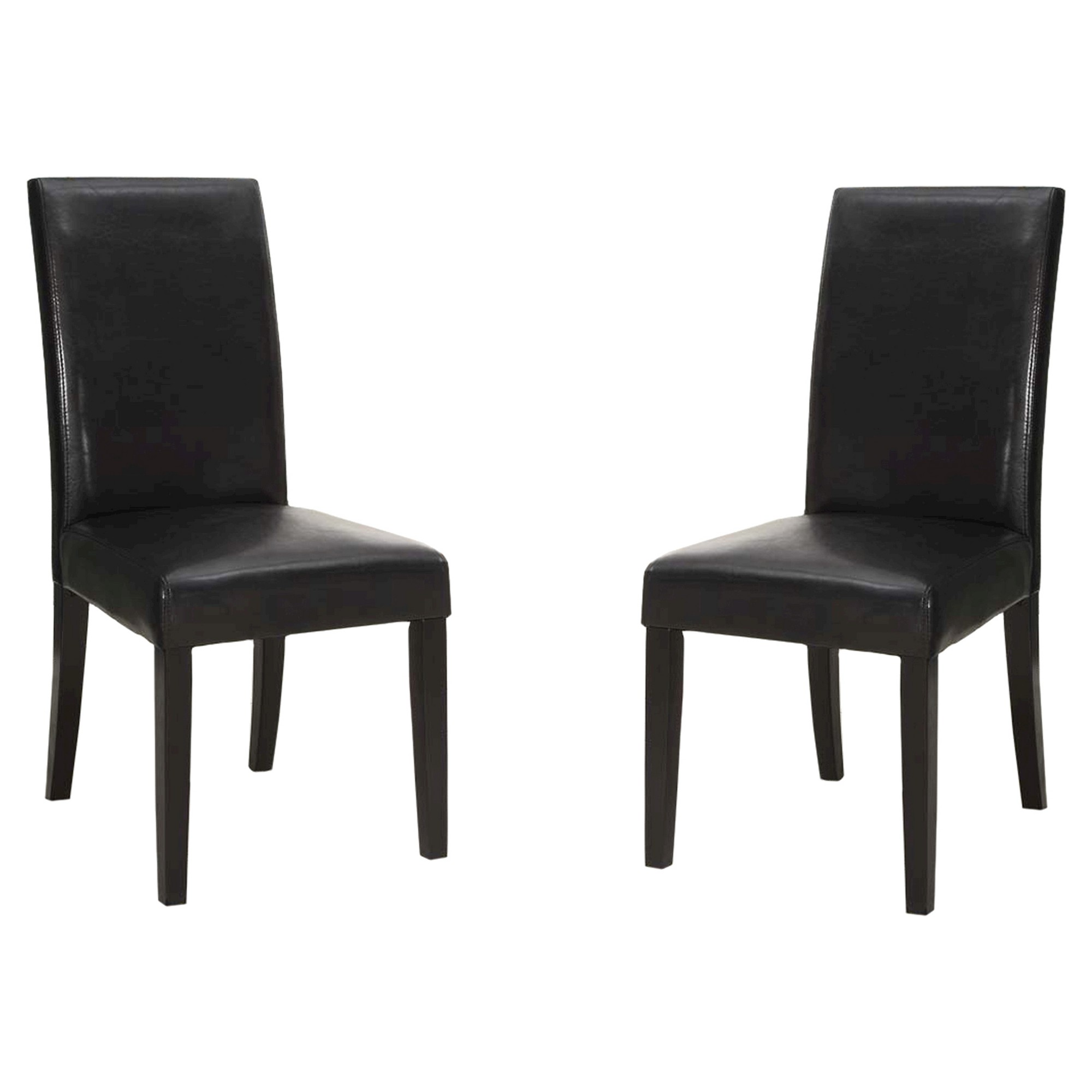 Black Bonded Leather Side Dining Chair  Black (Set Of
