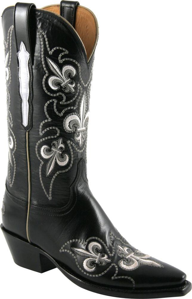 Ladies Lucchese Classics Fleur De Lis Black Goat Custom HandMade Western Boots GB9295  My