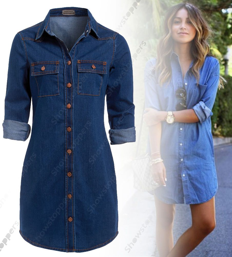 NEW Womens Longline Denim Shirt Dress Ladies Jean Dresses Size 4 4
