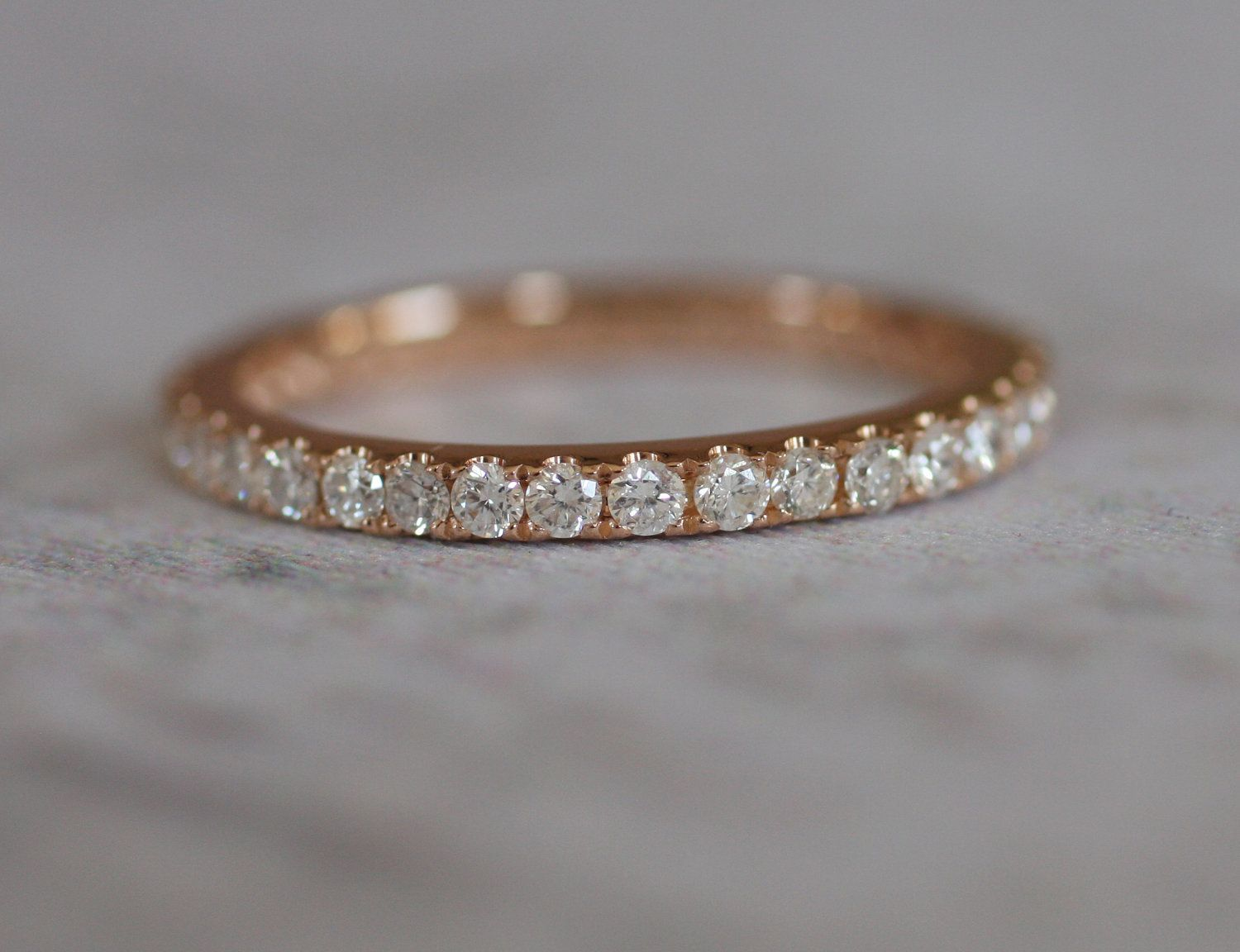 A circlet of sparkling diamonds. 2mm full eternity diamond band - rose, white or yellow gold -made to order.