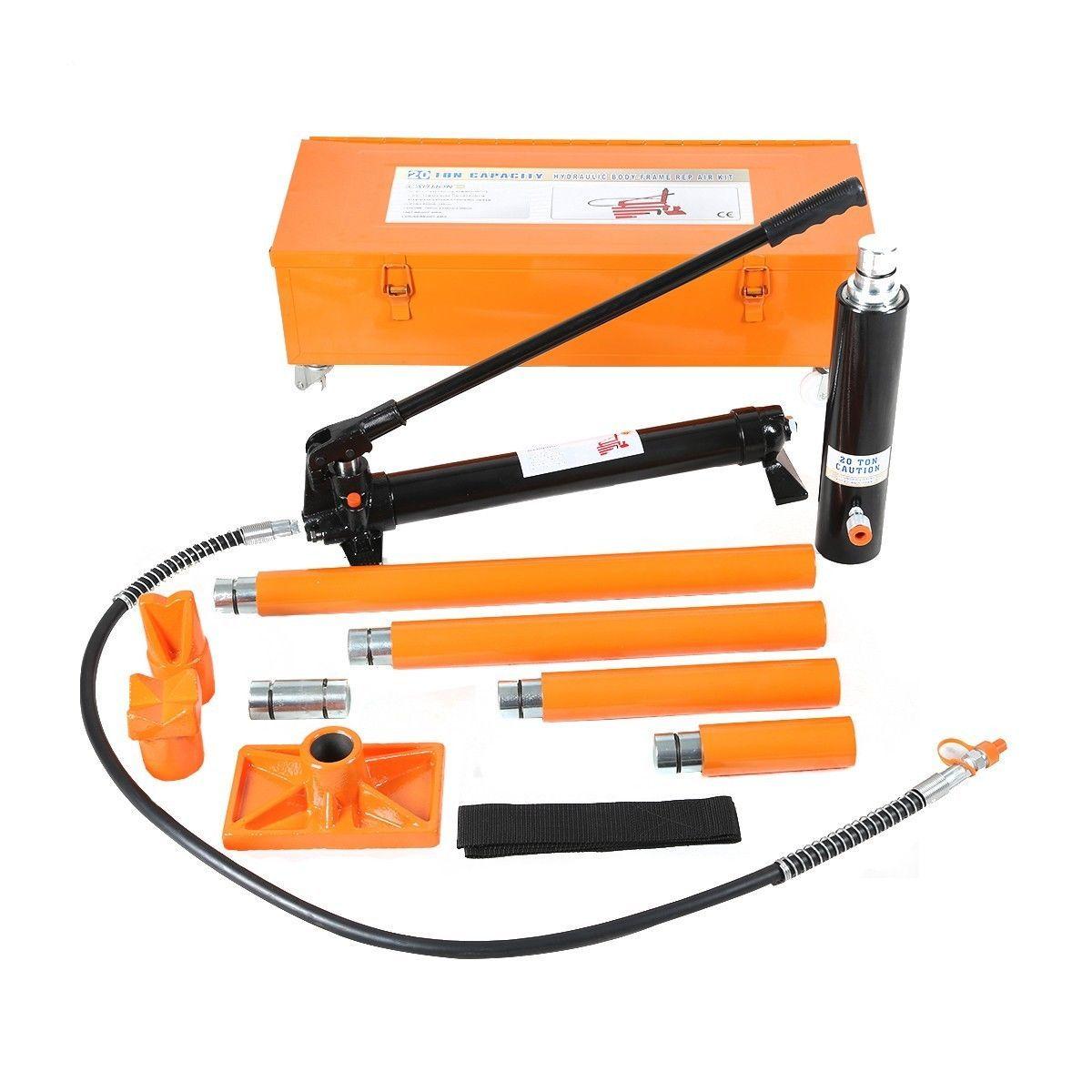20 Ton Hydraulic Jack Air Pump Lift Porta Power Ram Repair Tool Kit Set W Case Power Ram Tool Kit Air Pump