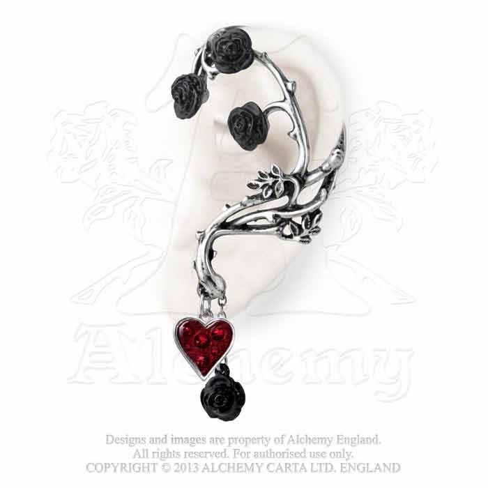 Bed of Blood Roses Red Heart Gothic Earring Left Ear Wrap E329