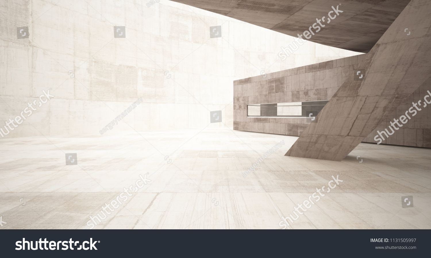 Abstract White And Concrete Interior With Glossy White Lines 3d Illustration And Rendering Concrete Interior Abstrac Concrete Interiors Glossy White Interior