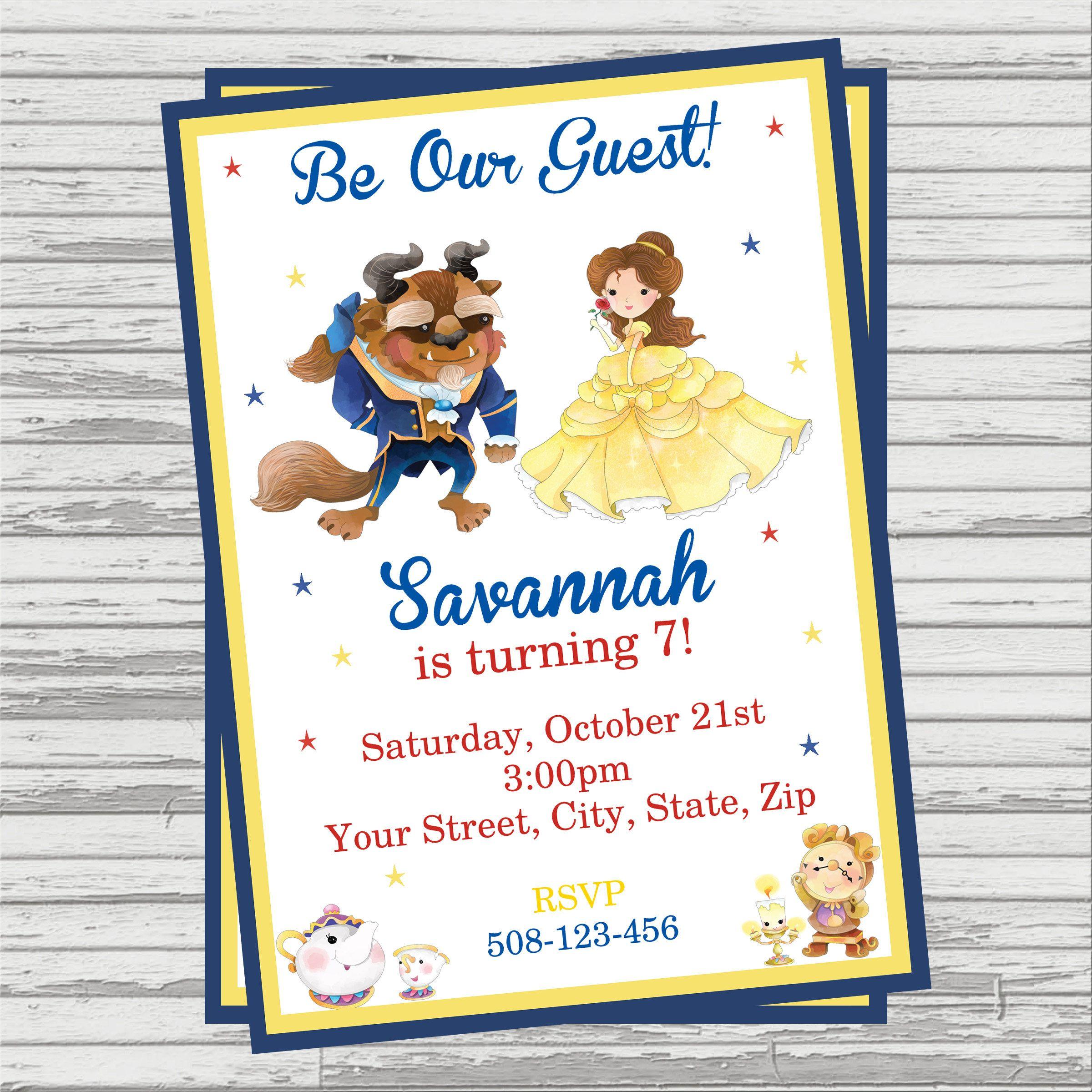 Beauty and The Beast Themed Party Custom DIGITAL Birthday Invitation ...