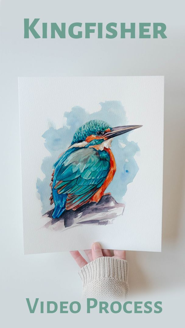 This little kingfisher belongs to the last collection at Ink Imaginarium. A watercolor series all about exotic colors and inspired by the jungle singing birds. Click to see the video processes in the blog! #birdart #birdlovers #kingfisher #watercolorart #birdwatercolor #birdpainting #paintingprocess