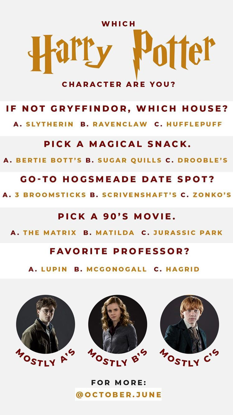 Which Harry Potter Character Are You Instagram Story Template By October June Harrypotter Harry Potter Questions Harry Potter Characters Harry Potter Puns