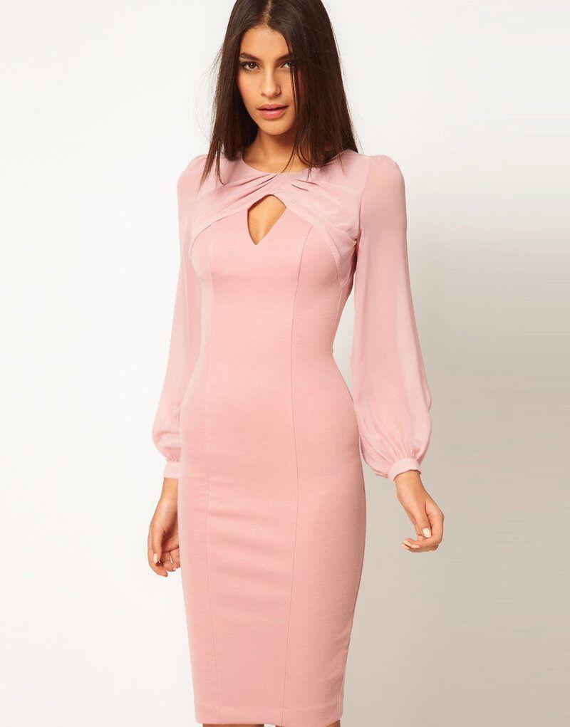 Langarm Chiffon Kleider. Pinkes chiffon-kleid. Elegant.. #langes
