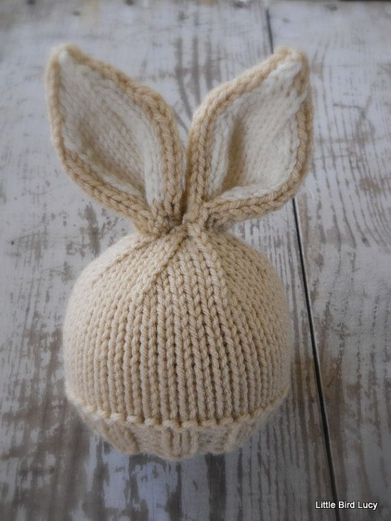 3bba74a25c9 Knit Baby Bunny   Newborn Hat Easter Rabbit by LittleBirdLucy