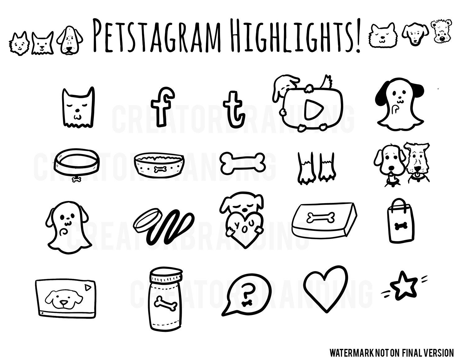Pets Instagram Story Highlight Icons Covers Pet