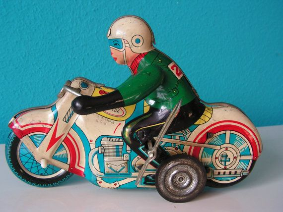 Vintage Lithographed Collectable Wind-up Tin Toy Clockwork Motorcycle MS702  MIB China