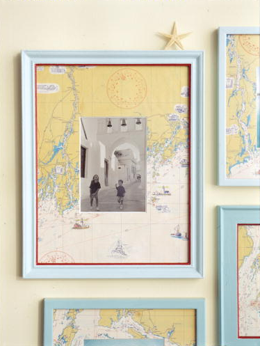 So clever - use a map of the place you visited as the mat for the photograph from your trip.  (and a lot of other map ideas)