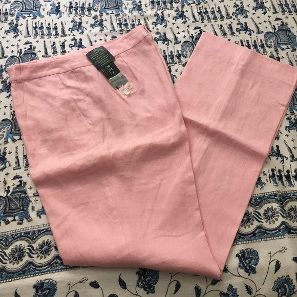 Lauren Ralph Lauren pink linen pants Lauren Ralph Lauren pink hundred percent linen pants. Fully lined. Size 10. Perfect for summer! Lauren Ralph Lauren Pants Trousers