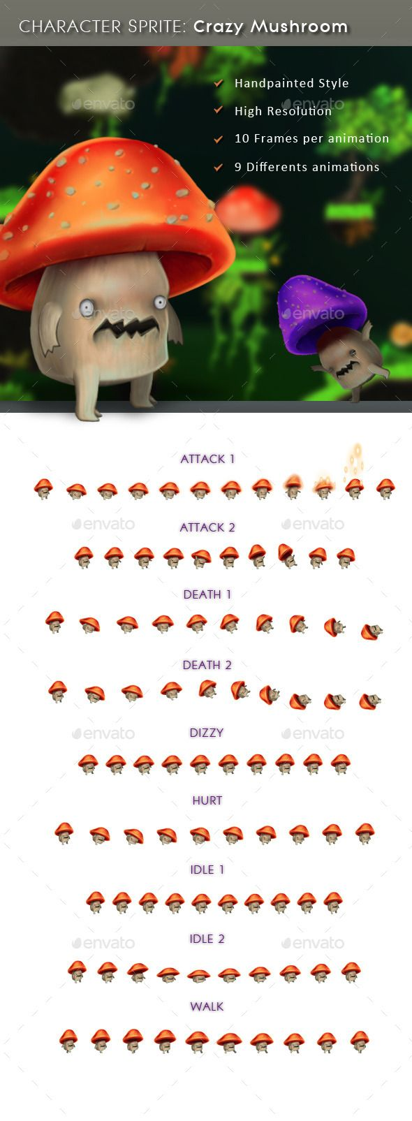 #Character Sprite: Crazy Mushroom - Sprites #Game #Assets Download here: https://graphicriver.net/item/character-sprite-crazy-mushroom/11427121?ref=alena994