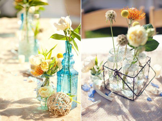 Mismatched floral center pieces