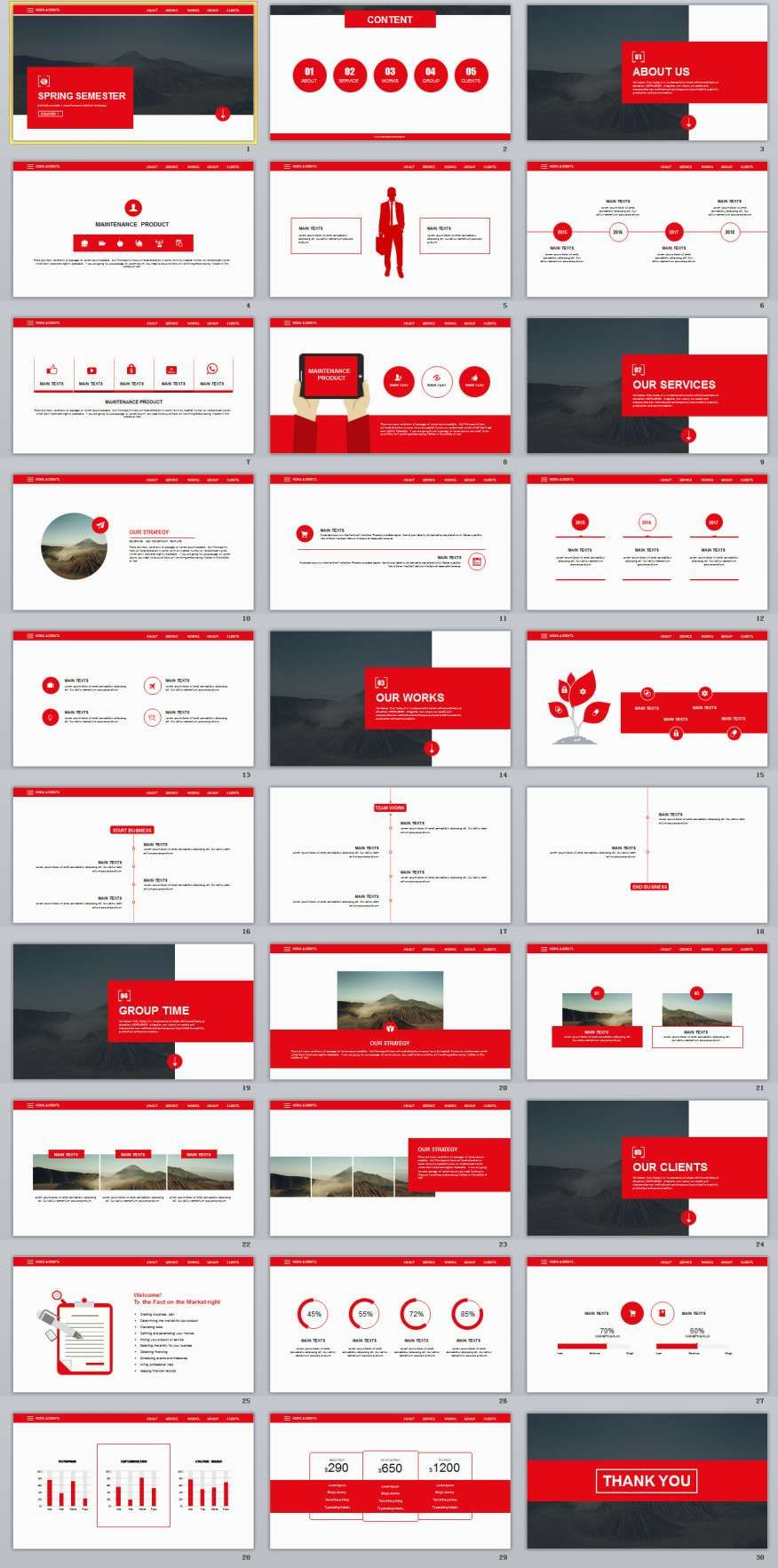 30 Red Business Report PowerPoint TemplatesThe highest quality PowerPoint Templates and Keynote Templates download