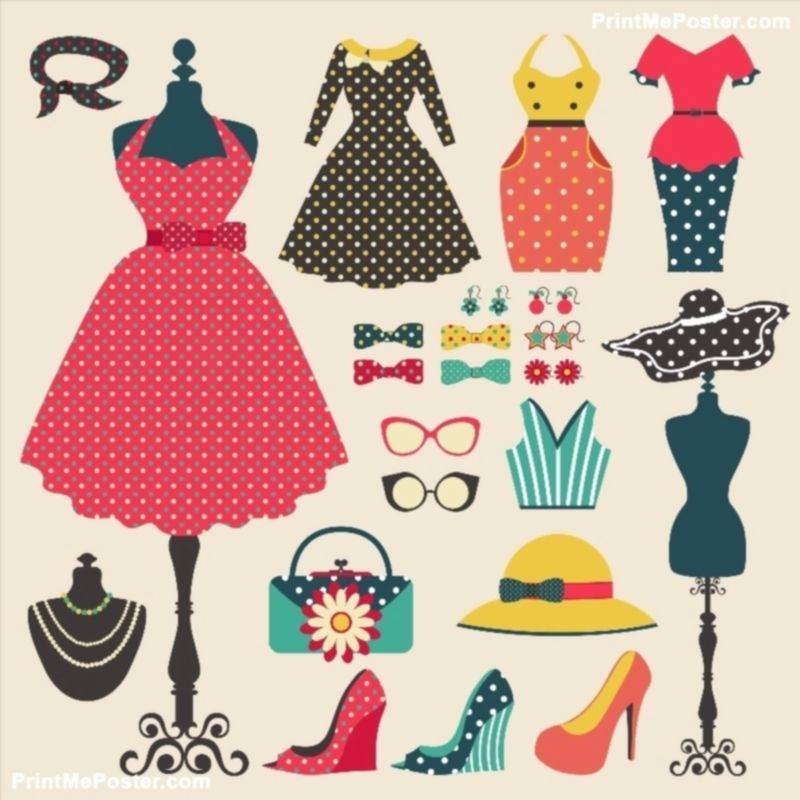 Old Retro Woman Fashion Clothes, Garment, And Accessories Flat - fashion design posters