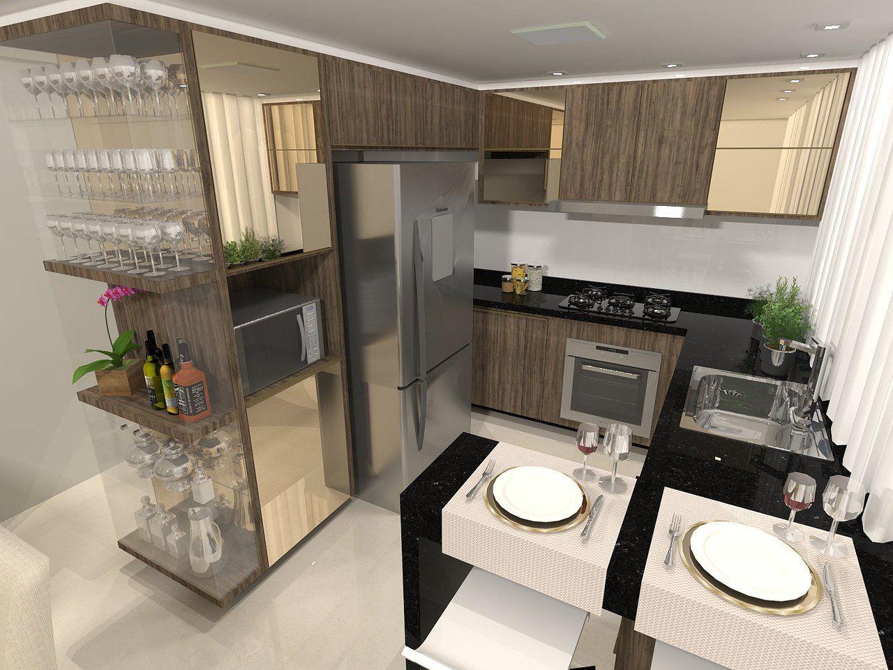 Projeto Para Cozinha Com Cristaleira E Vidro Reflexivo Reflecta