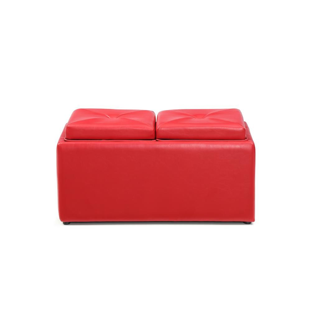 Faux Leather, Double Storage Red Ottoman With 2 Flip Over Serving Trays