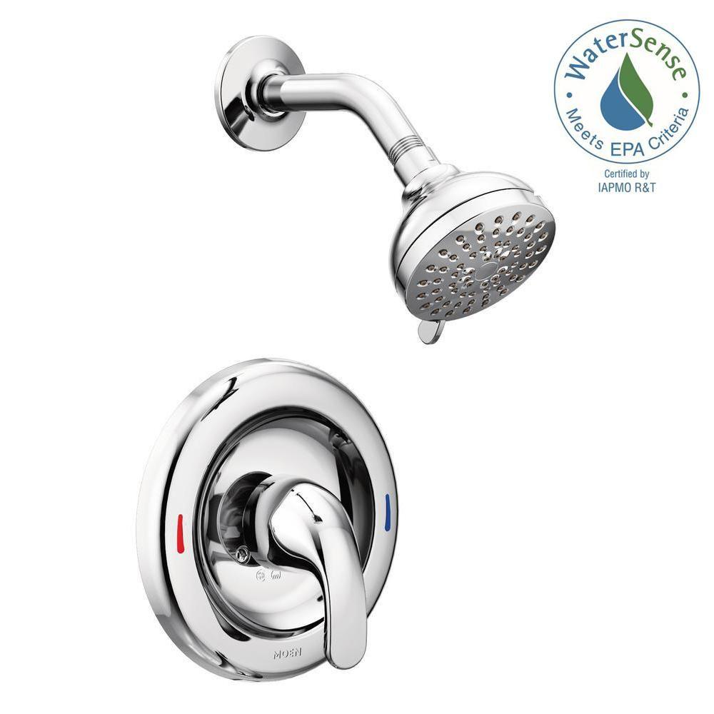 Moen Adler 1 Handle 4 Spray Shower Faucet With Valve In Chrome Valve Included 82604 Shower Faucet Sets Shower Faucet Shower Tub
