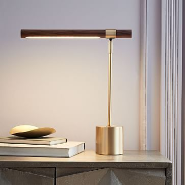 Linear Wood Led Table Lamp Usb Westelm Table Lamp Wood Lamp Design Table Lamp Design