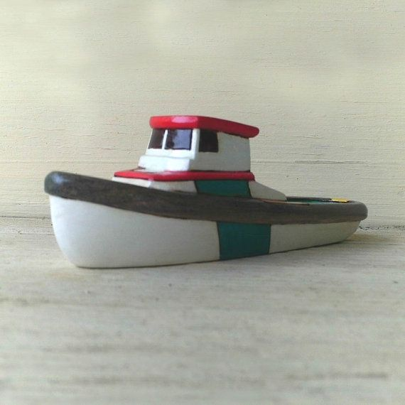 Teal and White Channel Wooden Toy Boat by FriendlyFairies on Etsy, $29.00