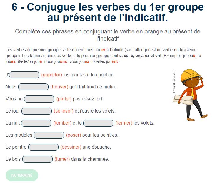 Conjugue Les Verbes Du 1er Groupe Au Present De L Indicatif Verbe Jeux Educatifs En Ligne Exercices Conjugaison