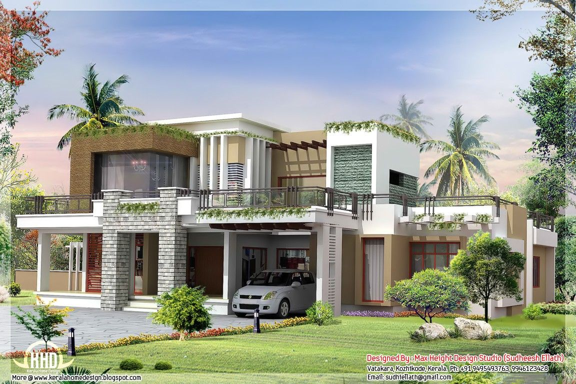 Contemporary house plans with photos 2800 modern for Small villa plans in kerala