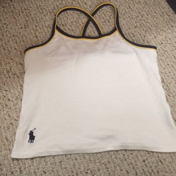 Polo Ralph Lauren Cropped tank White tank/crop top with navy blue and yellow straps Polo by Ralph Lauren Tops Tank Tops